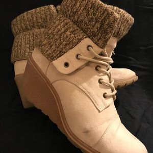 Women's wedge sneaker bootie with sweater foldover